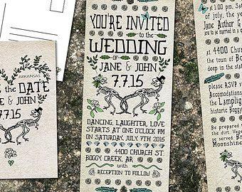 Dinosaur Wedding Premade customizable wedding Invitation