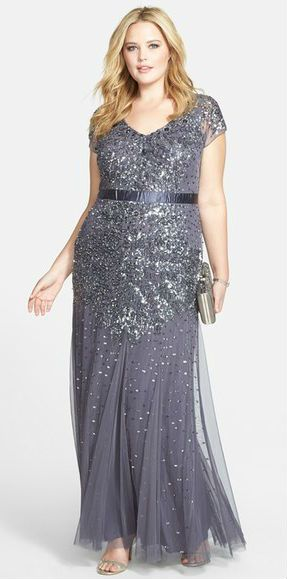 Silver gray sequin and beaded gown - beautiful Mother-of-the-Bride dress