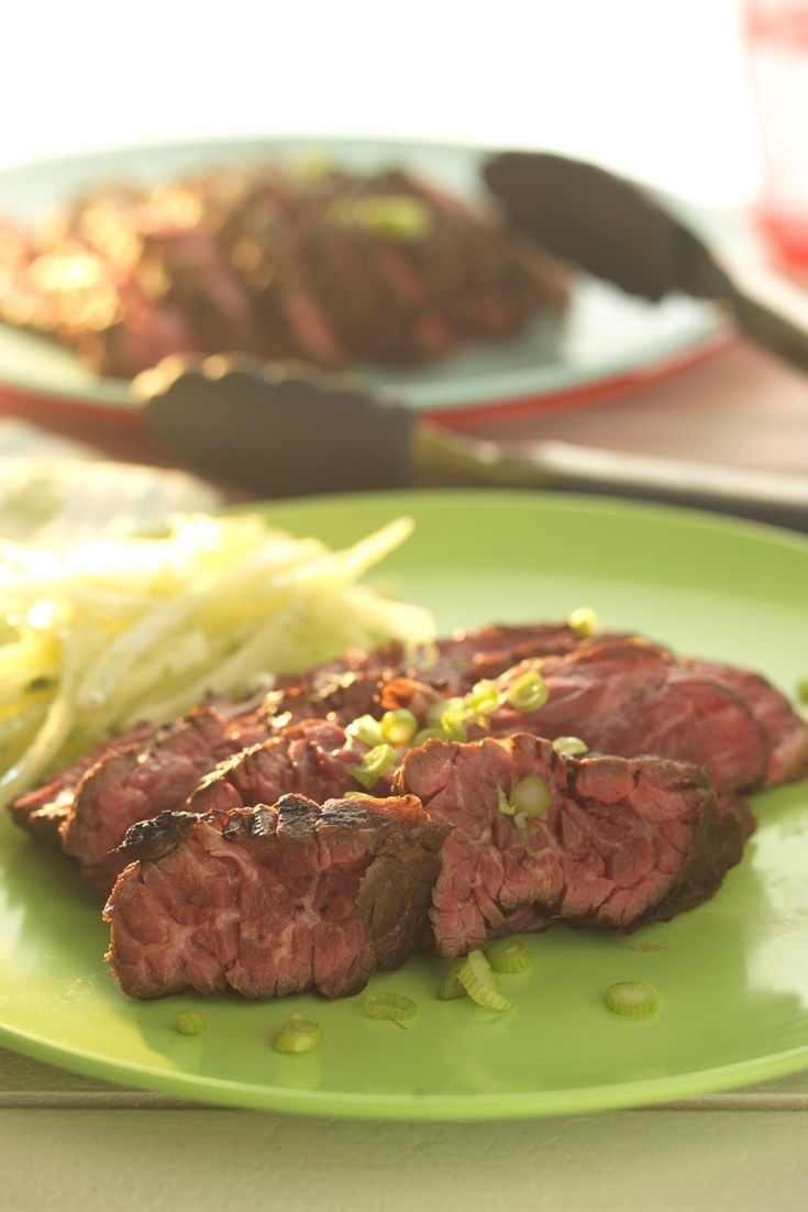 Flank steak is steeped overnight in an Asian-style marinade with lime and fish sauce in this flank steak recipe by Martin Wishart.