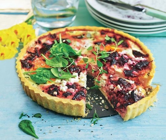 family vegetarian recipe for shortcrust pastry tart filled with cooked beetroot, creme fraiche, feta and Red Leicester cheese