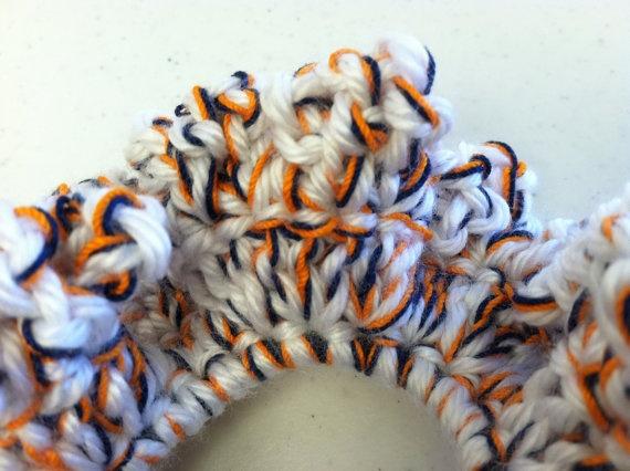 Navy Orange and White Scrunchie / Navy Blue Pony by tinybabylady, $5.50