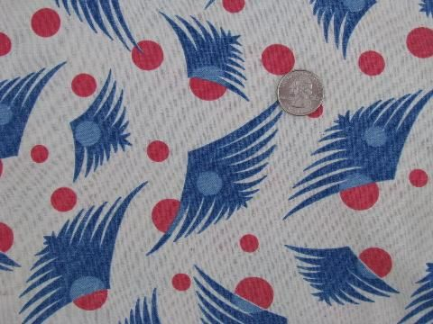 1930's deco feathers print cotton feedsack fabric