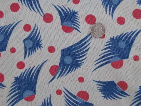 1930's deco feathers print cotton feedsack fabric