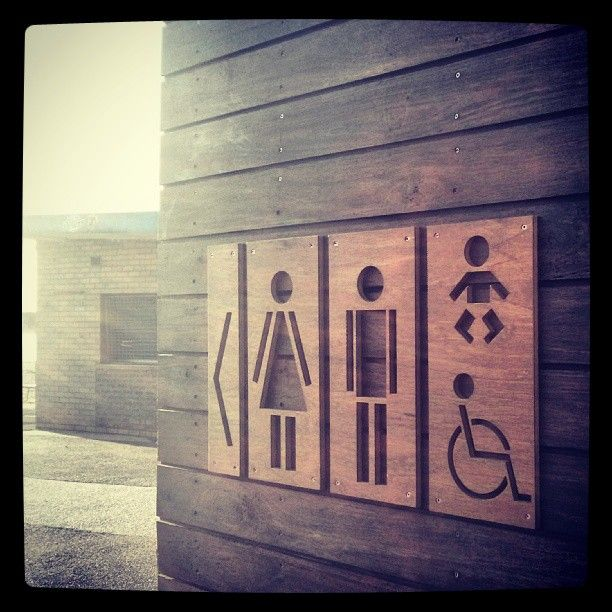 .@Севиль Аббасова Exposed | New outdoor wooden toilet signage #williamstownbeach #directionalsignage #toi... | Webstagram