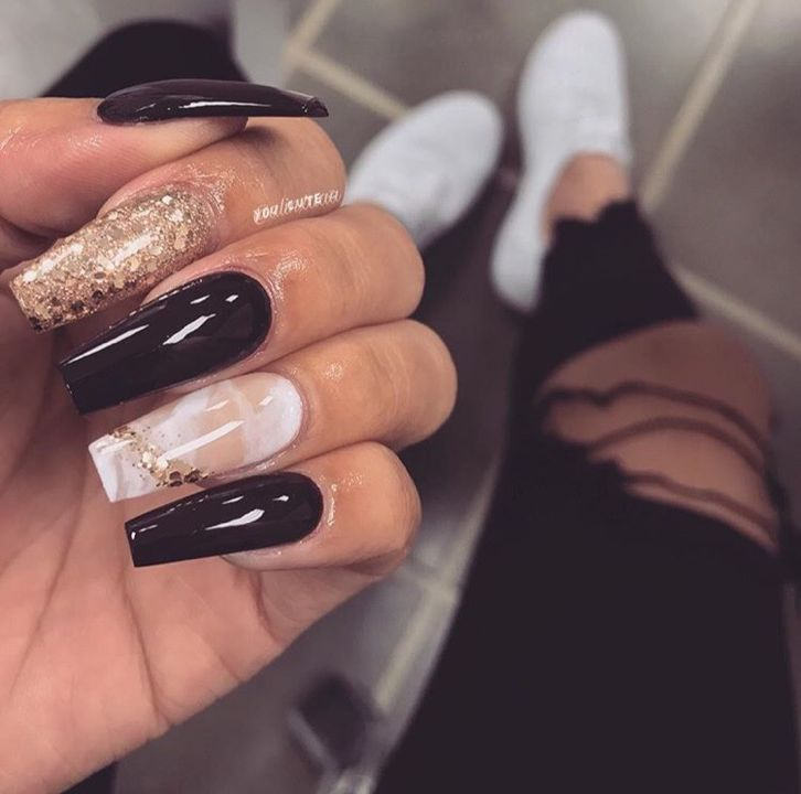 Black White Marble And Gold Coffin Nails Luxury Nails Nail