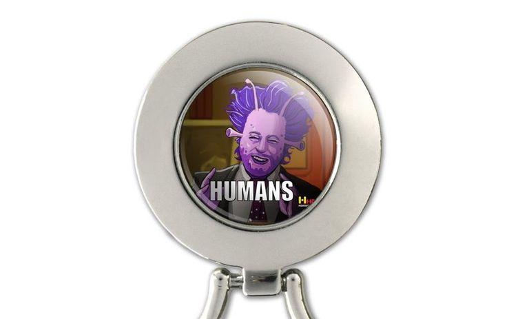 Human Aliens Guy History Meme Magnetic Metal Eyeglass ID Badge Holder