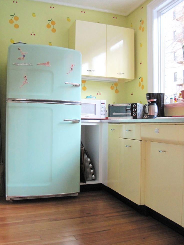 Pastel Blue And Yellow Retro Kitchen. Original Size Retro Refrigerator  Gallery | Big Chill