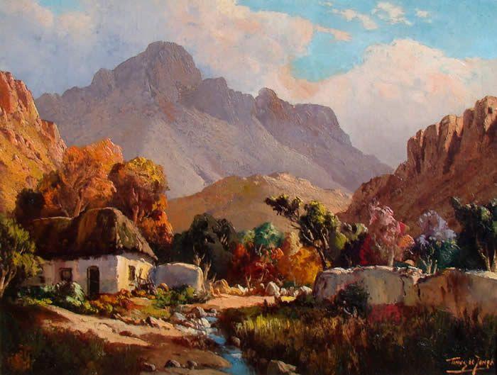 Tinus de Jongh (1885-1942) - Farm House Between the Mountains, Cape Provence