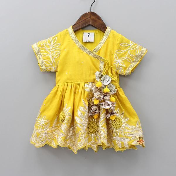 Pre Order Yellow Angarakha Dress Kids Frocks Design Kids Indian Wear Kids Designer Dresses