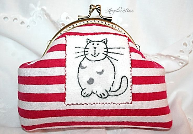 red and white striped cat cosmetic bag, cat clutch, kiss lock purse, unique make-up bag, angeline rose purse, cute cosmetic bag by AngelineRosePurse on Etsy