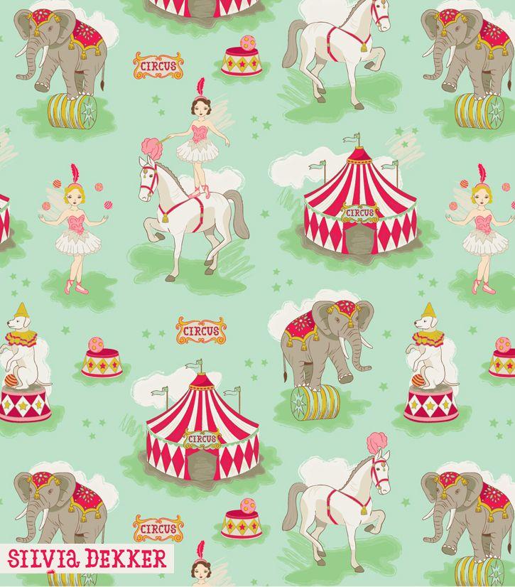 Vintage Circus pattern by Silvia Dekker. www.silviadekker.nl