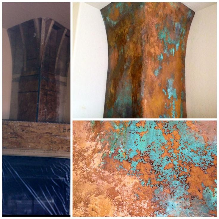 A stunning fireplace finished with Modern Masters Metal Effects Copper Patina and Rust Finish | Melanie Link of Interior Artistry