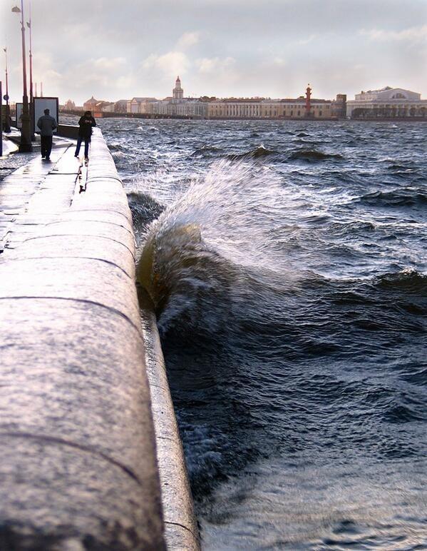 saint-petersburg; choppy water at the Neva embankment