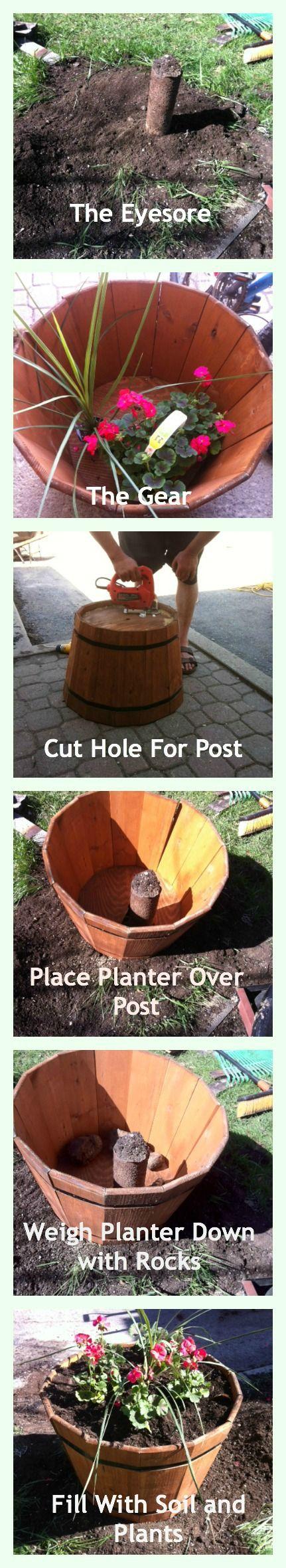 Garden DIY Covering an Eyesore with a Rain Barrel Planter