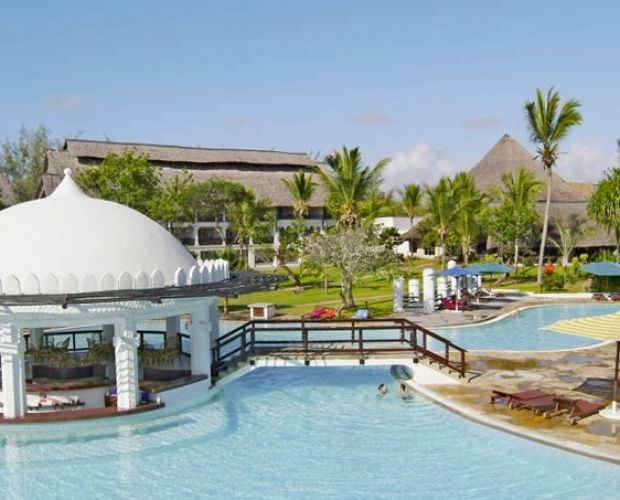 "SOUTHERN PALMS BEACH RESORT- is situated on the beautiful white sandy shores of the Indian Ocean at Diani Beach, 35 Km South of Mombasa.  This 4 star Beach Resort has a unique blend of traditional Swahili and Arabic architecture. The property spreads over 10 acres of mature tropical gardens and coconut palms. 300 air conditioned rooms and 2 ""luxury suites"" will ensure a comfortable stay at all time."