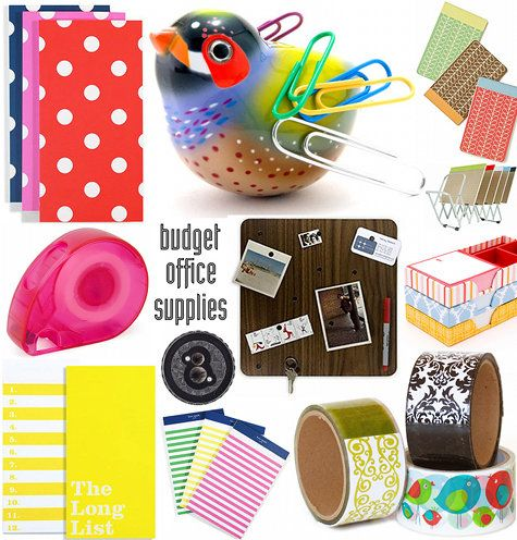 Colourful office supplies: http://www.designspongeonline.com/2009/07/under-100-office-accessories.html/office2