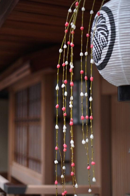 Mochibana - Traditional New Year's decoration of willow branches and pink and white mochi to emmulate flowers during winter.