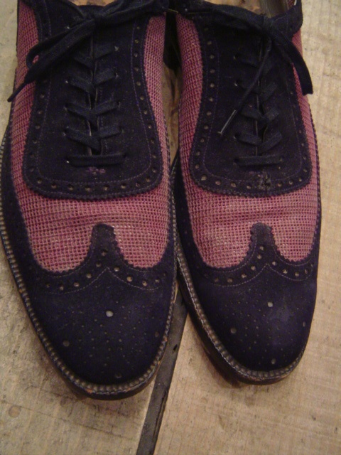1950's  BLUE-SUEDE×MESH  WING-TIP DRESS-SHOES