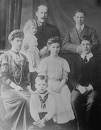 Constantine I of Greece - and his family. Seated left to right, Sophia of Prussia, Queen Consort, Paul of Greece, Helen of Greece and Denmark, and Alexander, future King of the Hellenes.  Standing, left to right, Princess Irene, Duchess of Aosta, King Constantine I of Greece and another future King, George II of the Hellenes.  Princess Katherine was yet unborn.