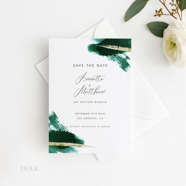 Modern Gold Dust Emerald Green Save the Date Printable