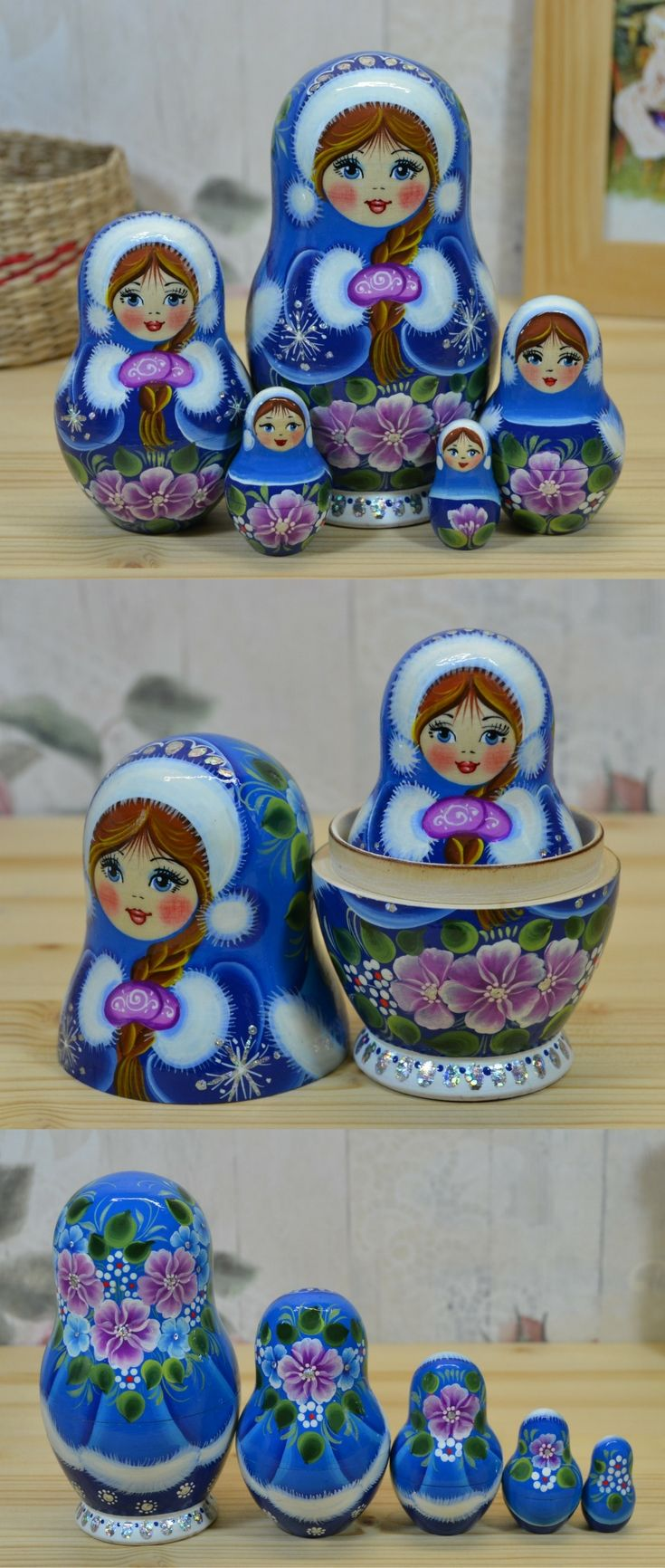russian matryoshka doll in blue winter attire