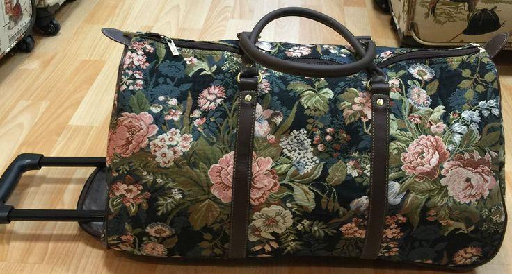 Gobelin Blumen dunkel große Reisetasche Trolley Royaltex SignareTasche Weekender