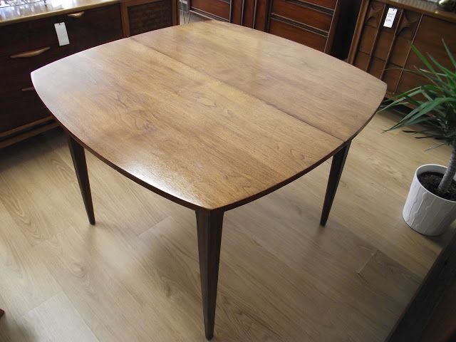 Ideal Surroundings Co.: Broyhill Mid-Century Modern Walnut Dining Table-- 42 inches, can expand to 78!
