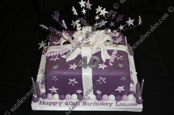 40th Birthday Cakes for Women | 40th Birthday Hot Pink/ White Shimmery Starburst