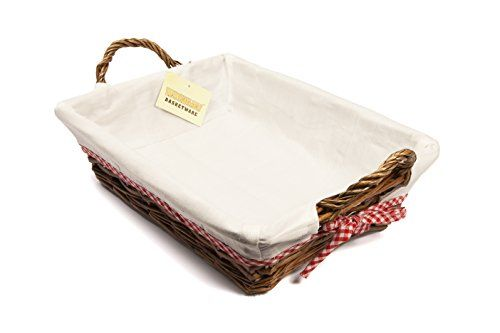From 6.99 Woodluv 27 X 38 Cm Rectangular Wicker Hamper Basket With White Lining Brown