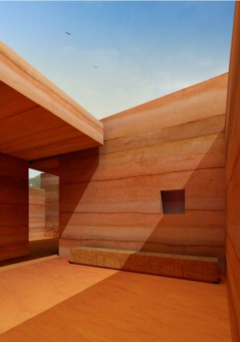 Rammed earth design won first prize in a 2010 international architecture competition to design a single family dwelling that would be radically cheap to build in Luanda, the capital of Angola. By Pedro Sousa + Tiago Ferreira + Tiago Coelho + Bárbara Silva + Madalena Madureira