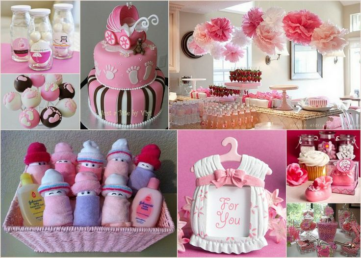 Design a baby girl shower with pink color theme here is baby shower party id - Idee deco baby shower ...