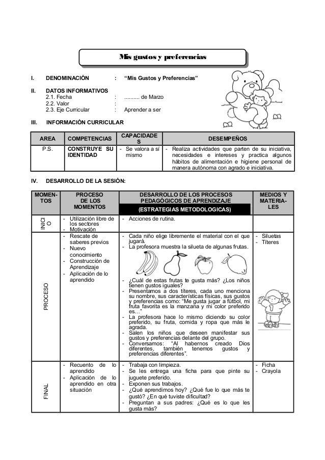 Sesión De Aprendizaje De Marzo A Agosto 3 Años Situaciones Didacticas Para Preescolar Aprendizaje Instrumentos De Evaluacion Preescolar