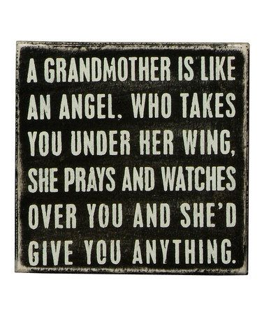 Take a look at this Black 'A Grandmother' Box Sign by Primitives by Kathy on #zulily today!