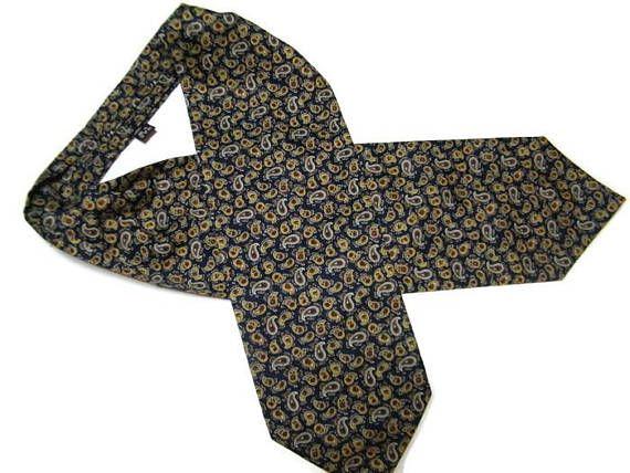 Vintage wedding Ascot Cravat Blue Red Retro Peisley cravat tie