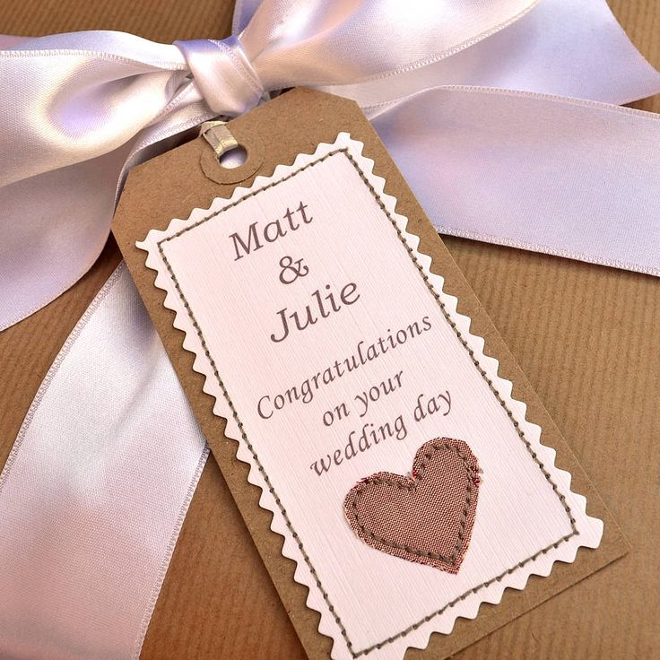 Personalised handmade wedding gift tag