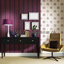 Brocante streep combi paars behang 8064 Vintage Noordwand