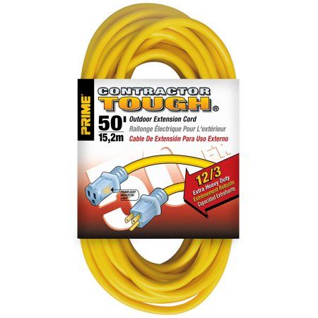 Prime Wire & Cable EC511830 50 Feet 12/3 Sjtw Jobsite Outdoor Extension Cord with Prime Wire & Cable light Indicator Light, Yellow, 5 Pack