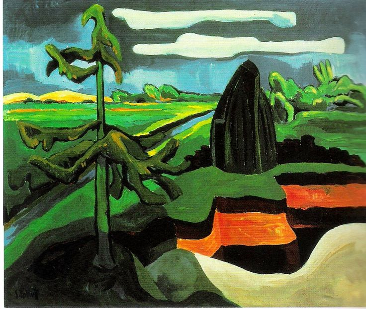 Karl Schmidt-Rottluff, Pommersche Mondlandschaft (Moonlit Landscape in Pomerania), 1931
