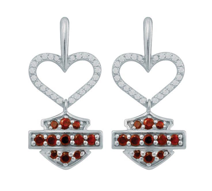 HME0010 - Harley-Davidson® Womens .925 Silver Diamond & Garnet Heart & B&S Dangle Earrings - Barnett Harley-Davidson®