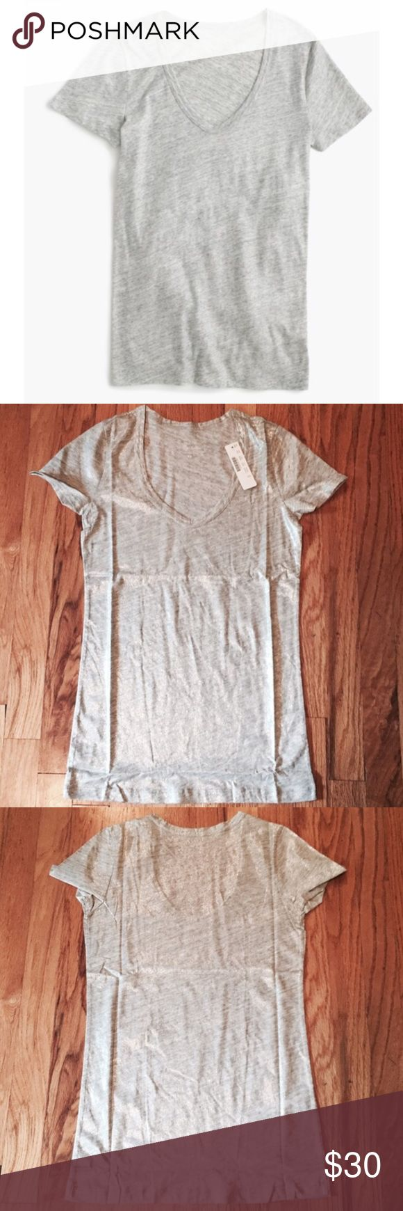 NWT J Crew Metallic Tee New with tags. Metallic silver vintage cotton scoop neck tshirt.   no trades | offer button only please J. Crew Tops Tees - Short Sleeve
