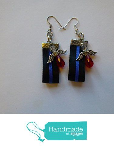 Red Angel Thin Blue Line Law Enforcement Support Earrings from Posey Creations https://www.amazon.com/dp/B01MR546IL/ref=hnd_sw_r_pi_awdo_7TA9ybZA71KFC #handmadeatamazon