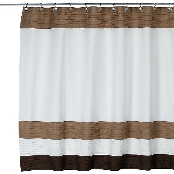 Dkny Colorblock Cafe Au Lait Stripe Fabric Shower Curtain White