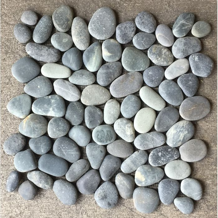 casual elements x natural stone pebble tile in charcoal gray