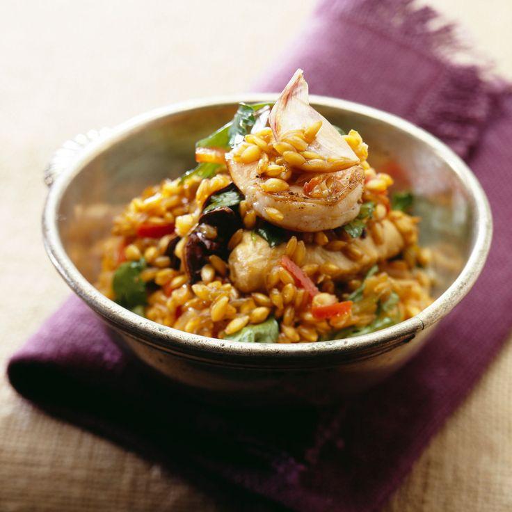Découvrez la recette Risotto aux crevettes et poivrons sur cuisineactuelle.fr.