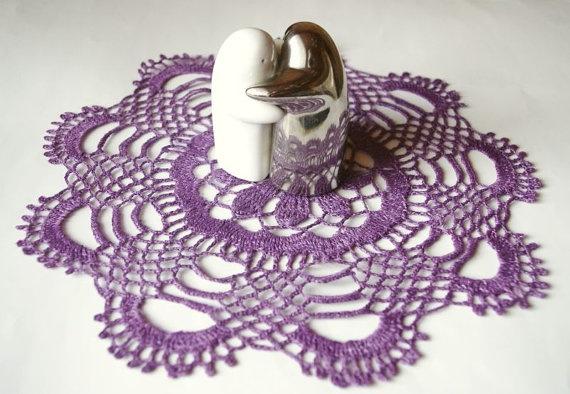 Crochet doily linen purple violet lace doily crochet by Edangra, $11.00