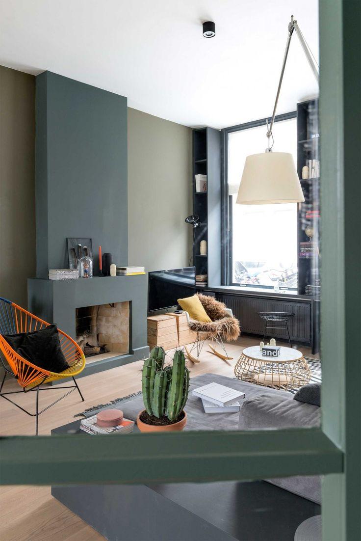 groene haard   green fireplace   vtwonen 09-2016   photography: Stan Koolen   styling: Jelle van de Schoor