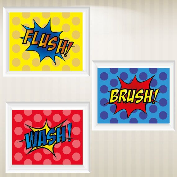 set of 3 super hero comic style pop art prints by cinemidesigns 2500 - Kid Prints