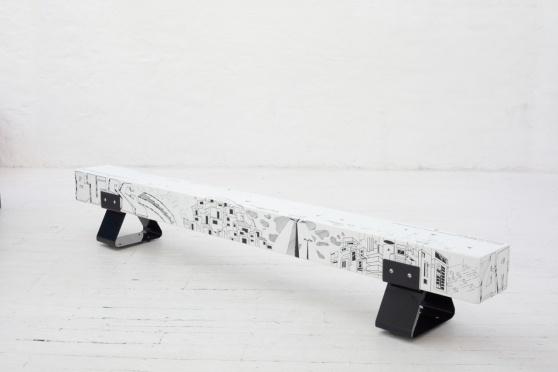 Furniture designer Laurie Wiid van Heerden with graphic artist Atang Tshikare
