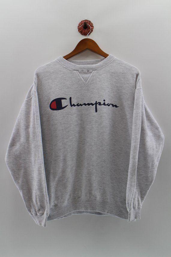 Champion Crewneck Jumper Unisex Medium Champion Big Logo Pullover Sweatshirt Champion Grey Sweater U In 2020 Champion Clothing Vintage Hoodies Sweatshirt Outfit