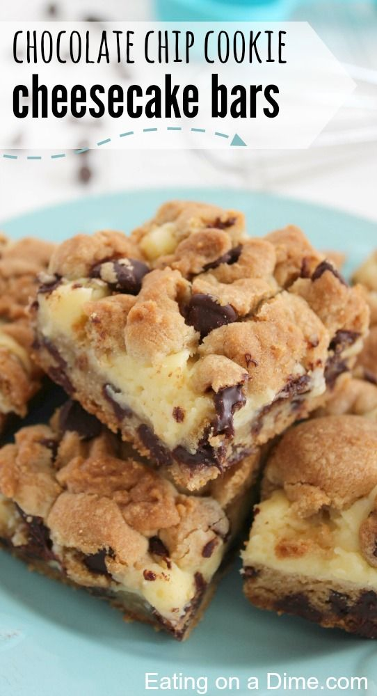 Oh you are going to love this delicious dessert! Chocolate chip cookie cheese cake bars. You two amazing desserts all in one delicious bar. YUM!